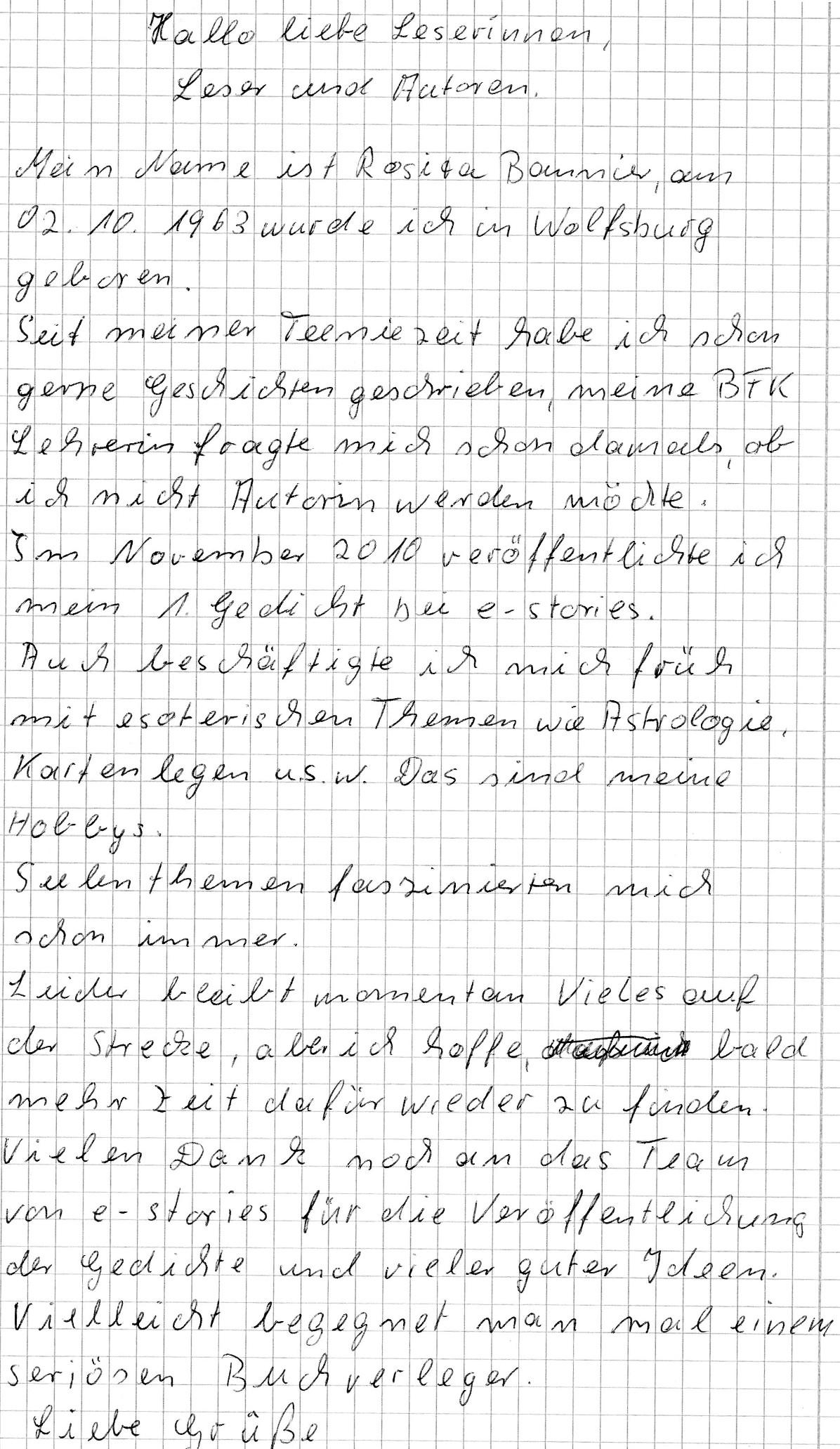 Handgeschriebener Autorensteckbrief