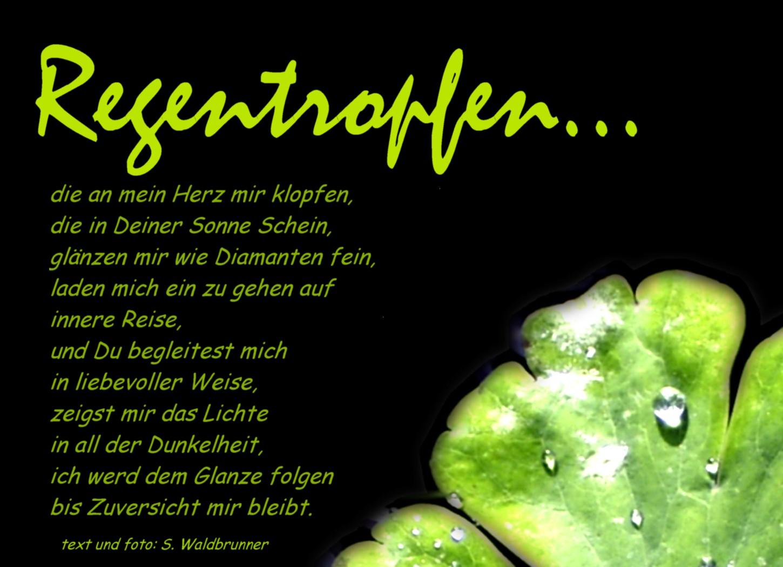 Gedicht Regentropfen (Kinderabschiedskarte) von Susanne