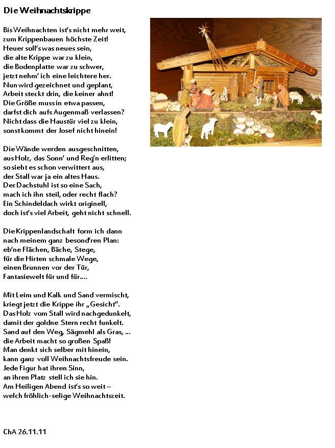 gedicht die weihnachtskrippe von christa astl bei e. Black Bedroom Furniture Sets. Home Design Ideas