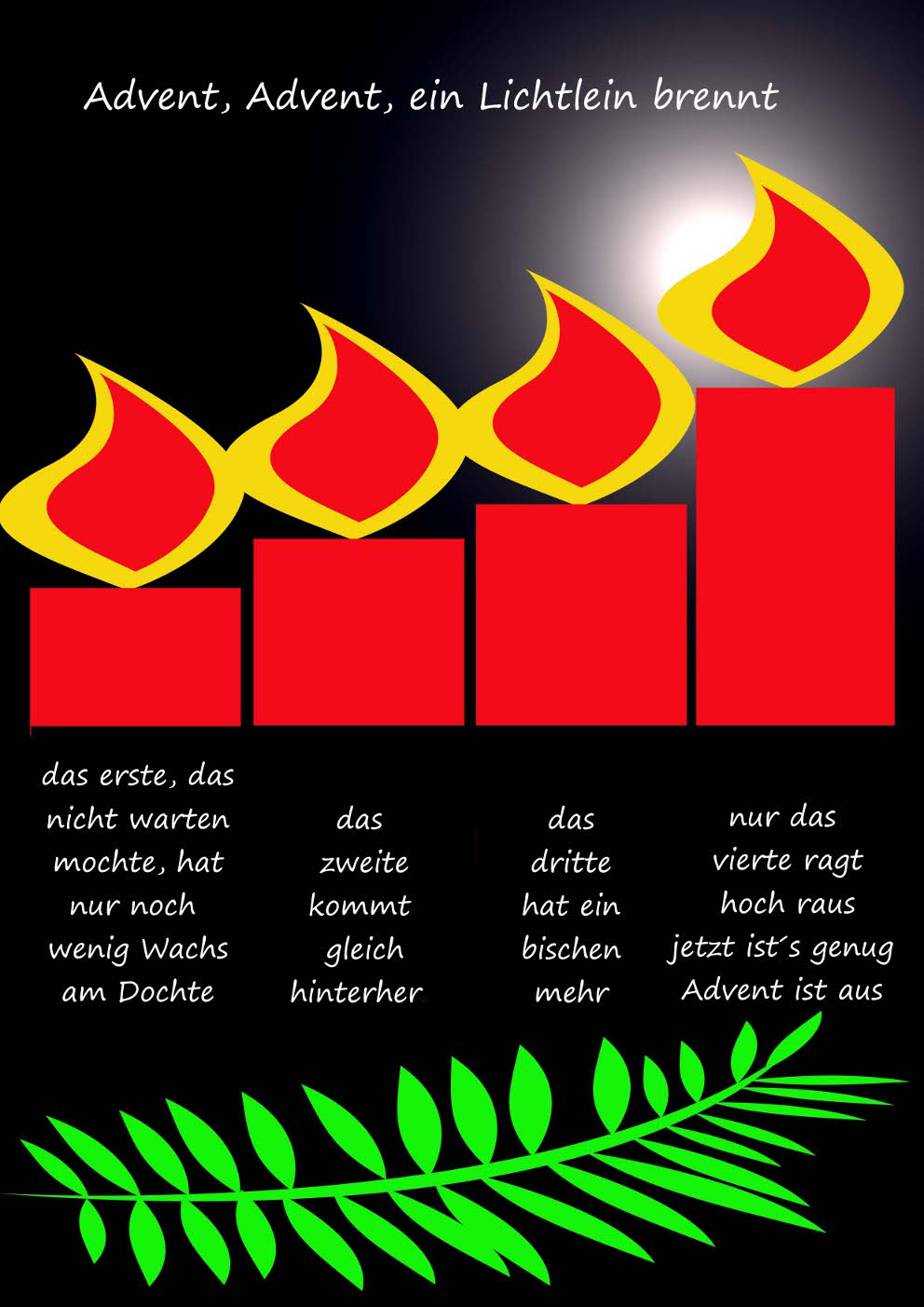 Gedicht advent advent ein lichtlein brennt 4 advent for Adventskranz englisch