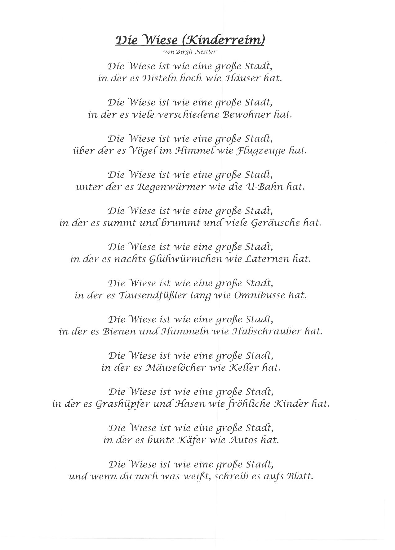 gedicht die wiese kinderreim von birgit nestler e. Black Bedroom Furniture Sets. Home Design Ideas