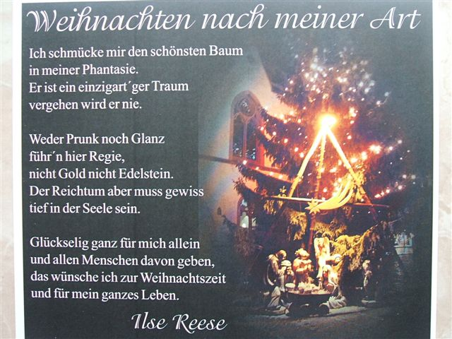 gedicht weihnachten nach meiner art von ilse reese bei e. Black Bedroom Furniture Sets. Home Design Ideas