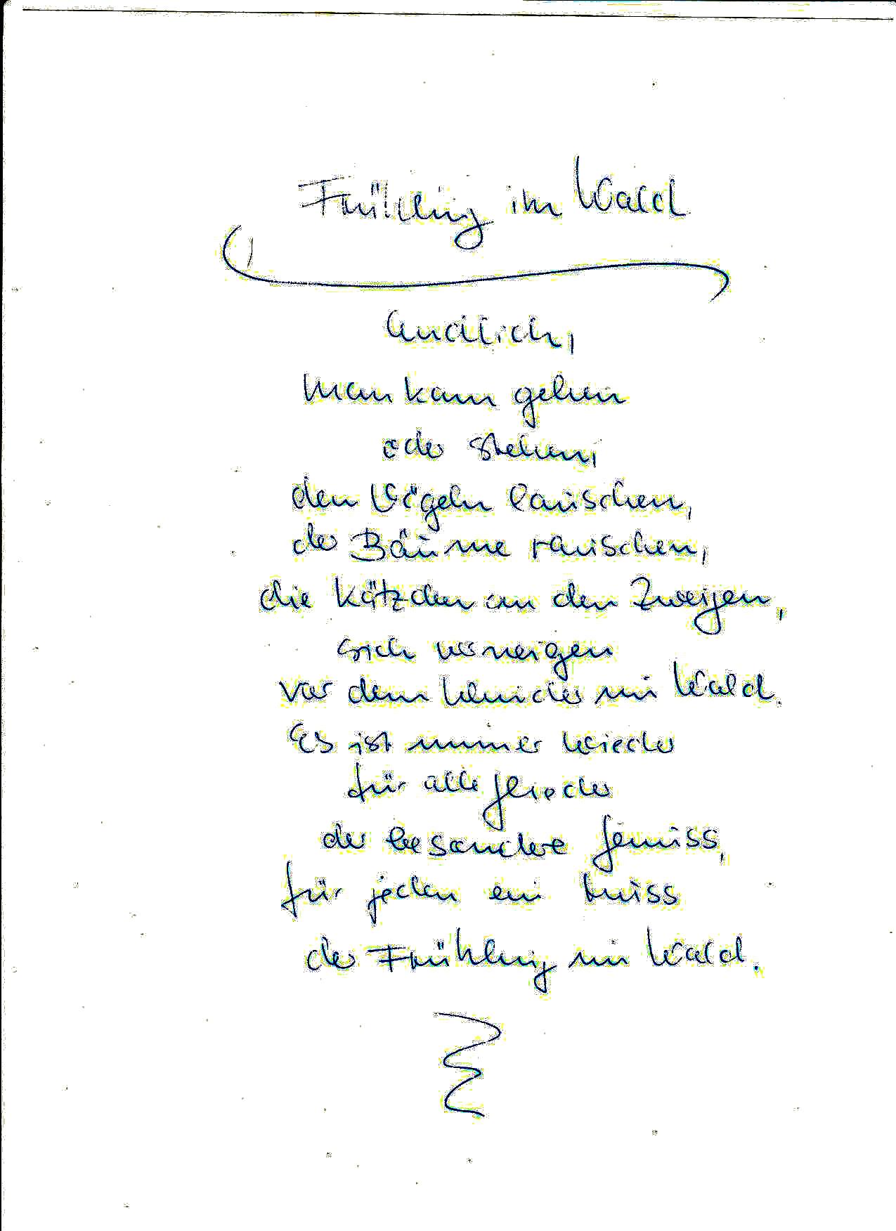 Gedicht Frühling Im Wald Von Helga Siebecke Bei E Storiesde