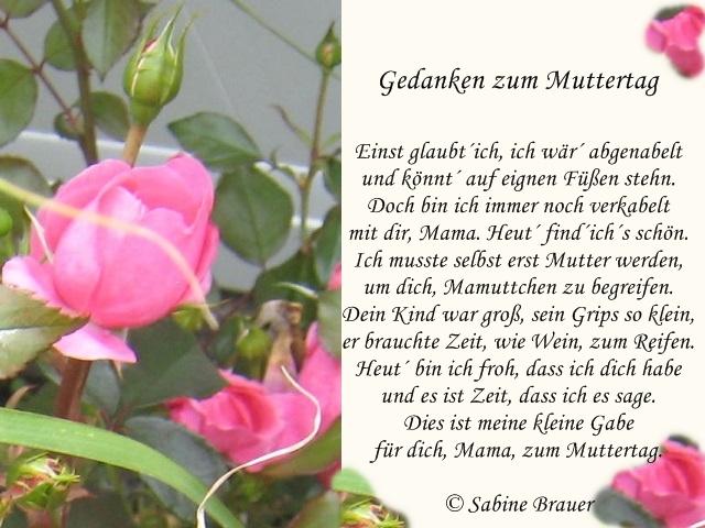 Gedicht Gedanken Zum Muttertag Von Sabine Brauer Bei E