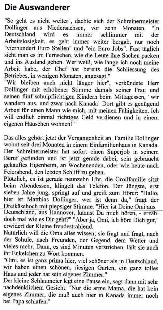 Arbeitsblatt Vorschule ostern englisch foto : Kurzgeschichte Die Auswanderer von Horst Rehmann bei e ...